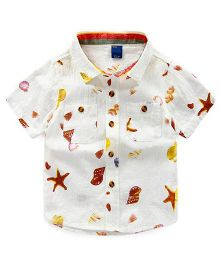 Pre Order - Lil Mantra Shells & Star Fish Print Shirt - White & Yellow