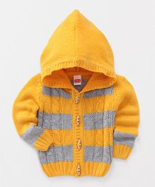 Babyhug Full Sleeves Hooded Stripe Sweater - Yellow