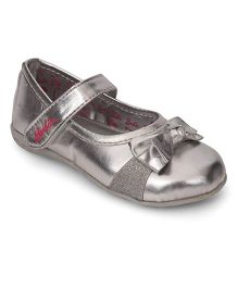 Barbie Belly Shoes Bow Applique Velcro Closure - Silver