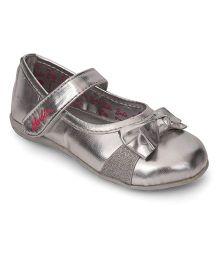Barbie Belly Shoes Bow Applique Velcro Closure - Silver