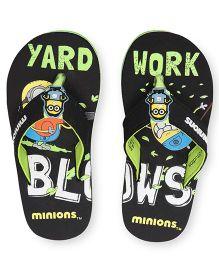 Minions Print Flip Flops - Black Green