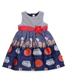 Yellow Duck Sleeveless Frock Printed With Net Yoke And Applique - Navy Red