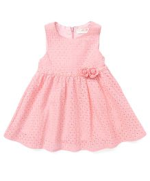TBB Cut Work Dress With Flowers On Waist - Light Pink