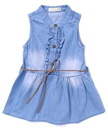 TBB Denim Dress With Belt On Waist - Blue