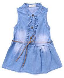 TBB Denim Dress With Belt On Waist - Blue