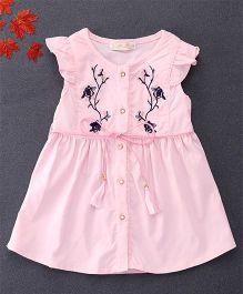 TBB Flower Embroidered Shirt Dress With Belt On Waist - Pink