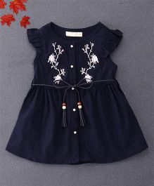 TBB Flower Embroidered Shirt Dress With Belt On Waist - Dark Blue