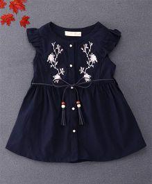 TBB Flower Embroidered Shirt Dress With Belt On Waist - Dark Blue