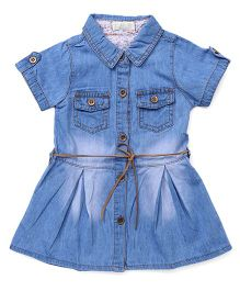 TBB Denim Shirt Dress With Belt On Waist - Blue