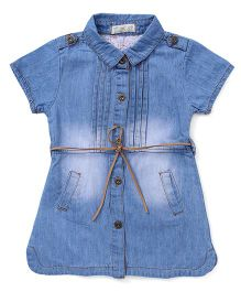 TBB Denim Dress With Two Pockets At Front - Blue