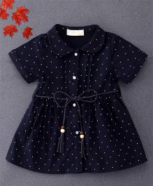 TBB Star Print Shirt Dress With Belt On Waist - Dark Blue