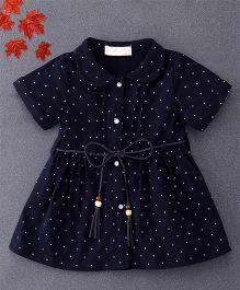 TBB Star Print Shirt Dress With Belt On Waist - Dark Blue