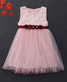 Fen Cai Dress With Flowers Embellished At Waist - Pink