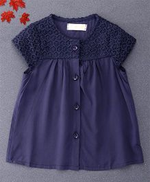 TBB Short Sleeves Threadwork Top - Dark Blue