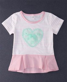 Happy Childhood Lace Design Stripe Print Top - Salmon & White
