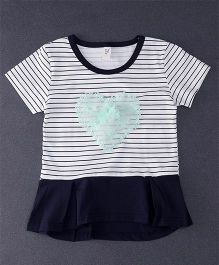 Happy Childhood Lace Design Stripe Print Top - Navy Blue & White