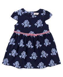 TBB Rose Flower Design Dress - Navy Blue