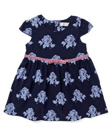 TBB Rose Flower Design Dress - Navy Blue