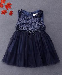 TBB Sleeveless Party Dress With Sequins - Dark Blue