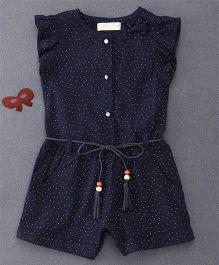 TBB Dot Print Jumpsuit With Belt On Waist - Dark Blue