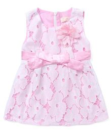 TBB Flower Cut Work Dress - Pink