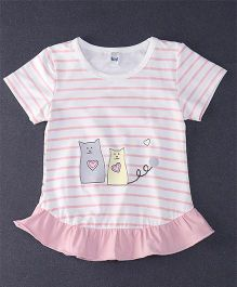 Happy Childhood Love Cat Print  Striped Top - Pink & White