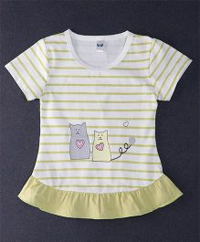 Happy Childhood Love Cat Print  Striped Top - Lemon Yellow & White