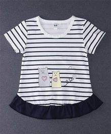 Happy Childhood Love Cat Print  Striped Top - Salmon & White