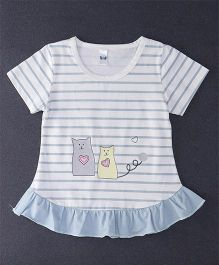 Happy Childhood Love Cat Print  Striped Top - Light Blue & White