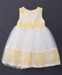 Fen Cai Sleeveless Party Dress - Yellow & White