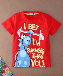 Lolly Kids Dinosaur Print Crew Neck Tee - Red