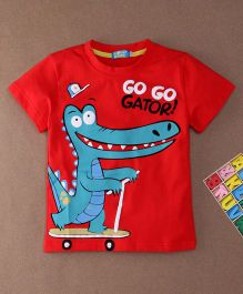 Lolly Kids Crocodile Print Crew Neck Tee - Red