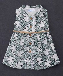 OB Baoney Flower Print Shirt Dress - Green