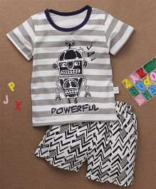 Simple Baby Powerful Print Tee & Shorts Set - White & Grey