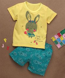 Simple Baby Love You Too Print Tee & Shorts Set - Yellow & Sea Green