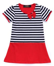 Water Melon Stripes Print Dress With Bow At Neck - Red & Blue