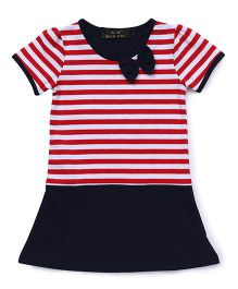 WaterMelon Stripes Print Dress With Bow At Neck - Navy Blue & Red