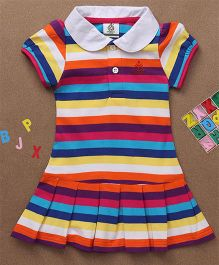 Water Melon Striped Collar Neck Dress - Multicolour