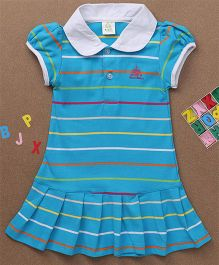 Water Melon Striped Collar Neck Dress - Blue