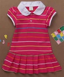 Water Melon Striped Collar Neck Dress - Pink