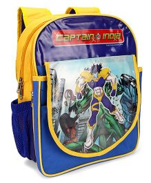 Captain India School Bag Blue Yellow - 34 cm