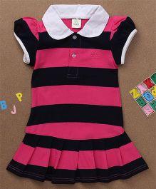 Water Melon Big Stripes Collar Neck Dress - Pink