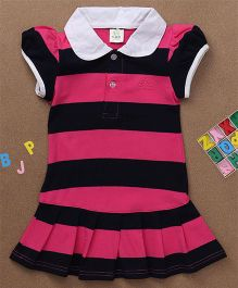 Water Melon Big Stripes Collar Neck Dress - Pink