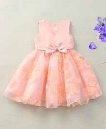 Fashion Collection By Meggie Sleeveless Net Floral Party Dress With Bow - Light Peach