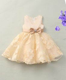 Fashion Collection By Meggie Sleeveless Net Floral Party Dress With Bow - Cream