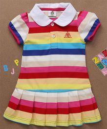 Water Melon Striped Collar Neck Dress - Multicolour