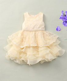 Fashion Collection By Meggie Sleeveless Net Tiered Floral Party Dress With Pearl - Cream