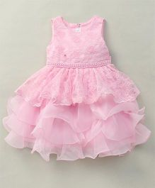 Fashion Collection By Meggie Sleeveless Net Tiered Floral Party Dress With Pearl - Pink