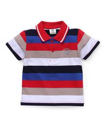 Water Melon Striped Print Half Sleeves Tee - Red