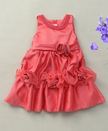 Fashion Collection By Meggie Sleeveless Satin Rose Party Dress With Pearl - Red